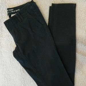 Black Low Rise Skinny Chino's